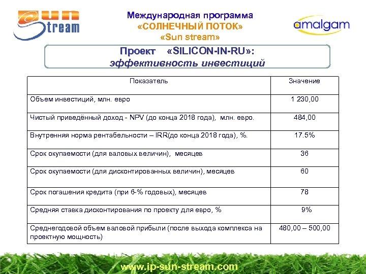 Международная программа «СОЛНЕЧНЫЙ ПОТОК» «Sun stream» Проект «SILICON-IN-RU» : Проект эффективность инвестиций Показатель Объем