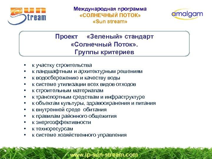 Международная программа «СОЛНЕЧНЫЙ ПОТОК» «Sun stream» Проект «Зеленый» стандарт Проект «Солнечный Поток» . Группы