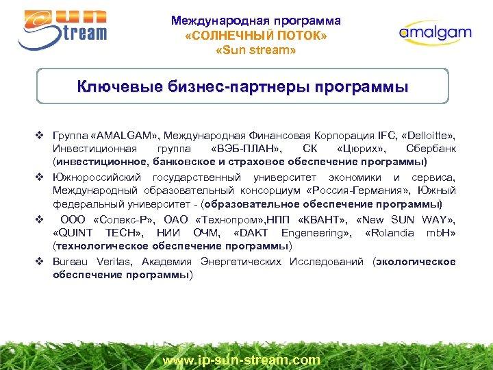 Международная программа «СОЛНЕЧНЫЙ ПОТОК» «Sun stream» Ключевые бизнес-партнеры программы v Группа «AMALGAM» , Международная