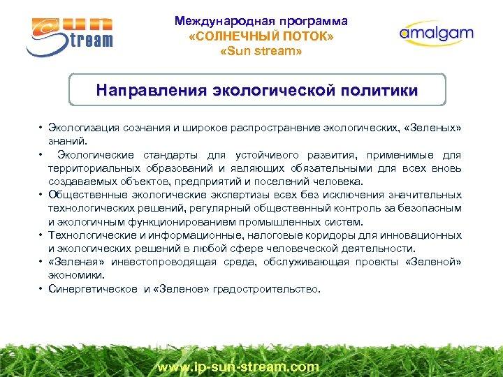 Международная программа «СОЛНЕЧНЫЙ ПОТОК» «Sun stream» Направления экологической политики • Экологизация сознания и широкое