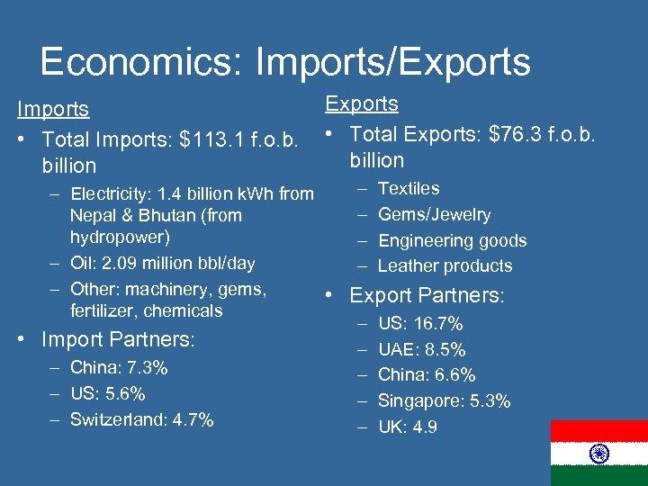 Economics: Imports/Exports Imports • Total Imports: $113. 1 f. o. b. billion Exports •