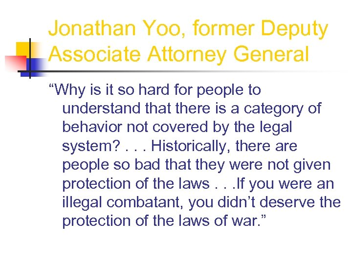 """Jonathan Yoo, former Deputy Associate Attorney General """"Why is it so hard for people"""