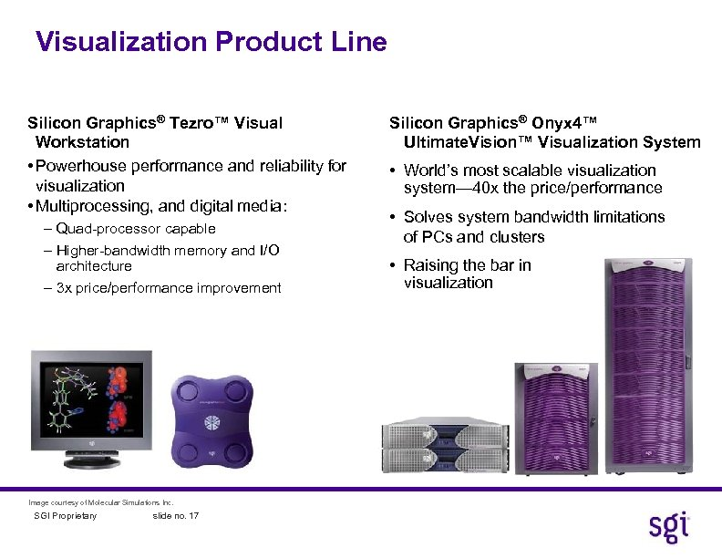 Visualization Product Line Silicon Graphics® Tezro™ Visual Workstation • Powerhouse performance and reliability for