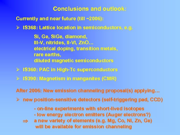 Conclusions and outlook: Currently and near future (till ~2006): Ø IS 368: Lattice location