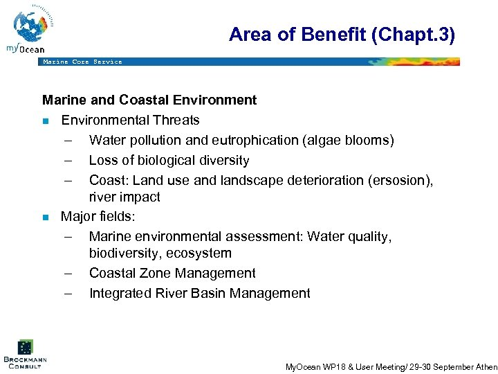 Area of Benefit (Chapt. 3) Marine Core Service Marine and Coastal Environment n Environmental