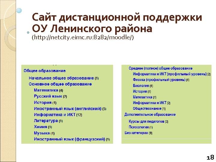Сайт дистанционной поддержки ОУ Ленинского района (http: //netcity. eimc. ru: 8282/moodle/) 18