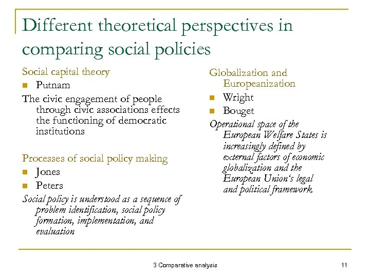 Different theoretical perspectives in comparing social policies Social capital theory n Putnam The civic