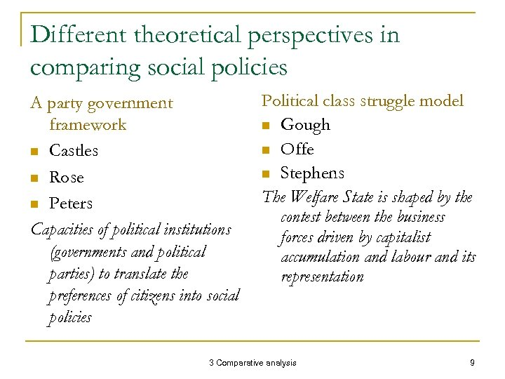 Different theoretical perspectives in comparing social policies A party government framework n Castles n