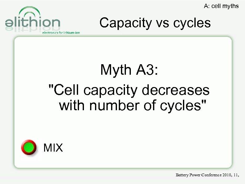 A: cell myths Capacity vs cycles Myth A 3: