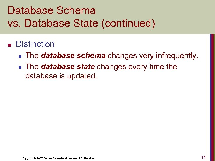 Database Schema vs. Database State (continued) n Distinction n n The database schema changes