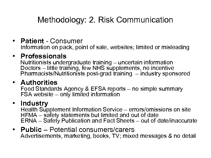 Methodology: 2. Risk Communication • Patient - Consumer Information on pack, point of sale,