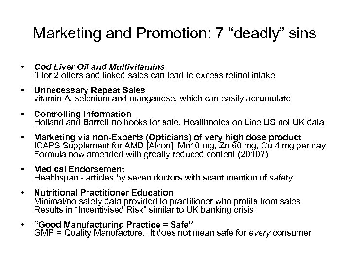 "Marketing and Promotion: 7 ""deadly"" sins • Cod Liver Oil and Multivitamins 3 for"