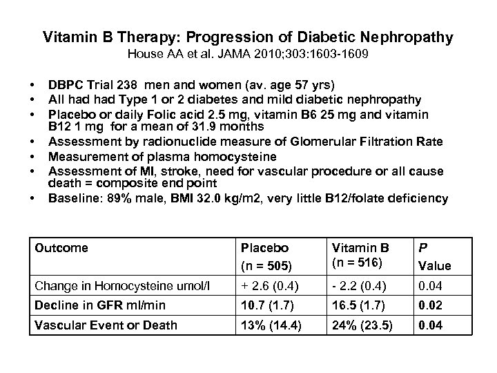 Vitamin B Therapy: Progression of Diabetic Nephropathy House AA et al. JAMA 2010; 303: