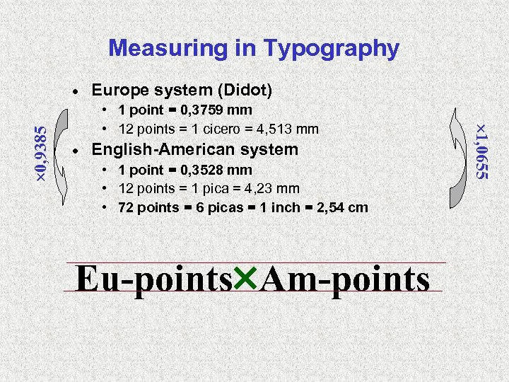Measuring in Typography Europe system (Didot) • 1 point = 0, 3759 mm •