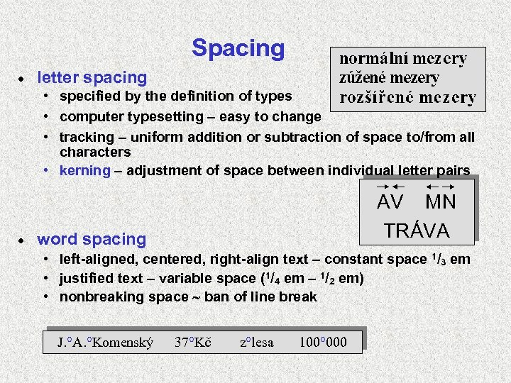 Spacing · letter spacing • specified by the definition of types • computer typesetting