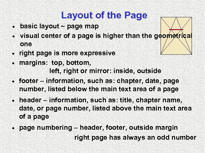 Layout of the Page · · · basic layout page map visual center of
