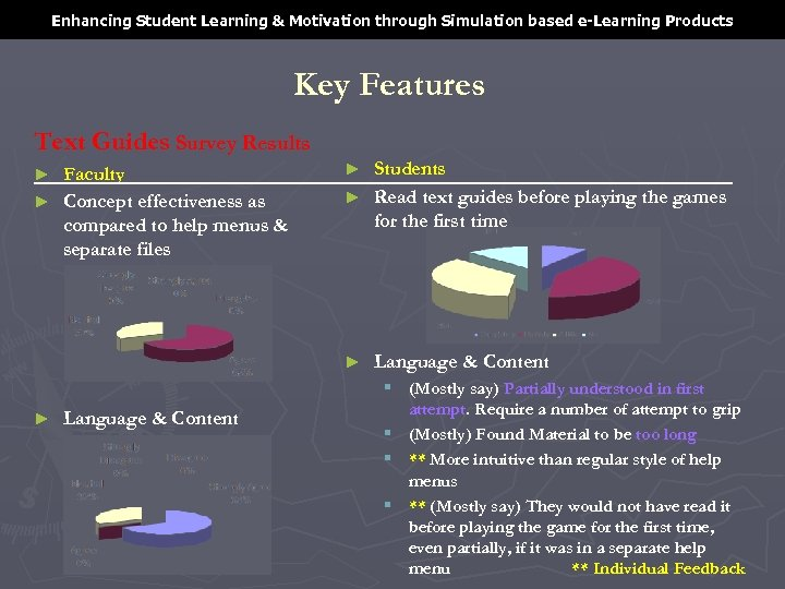 Enhancing Student Learning & Motivation through Simulation based e-Learning Products Key Features Text Guides