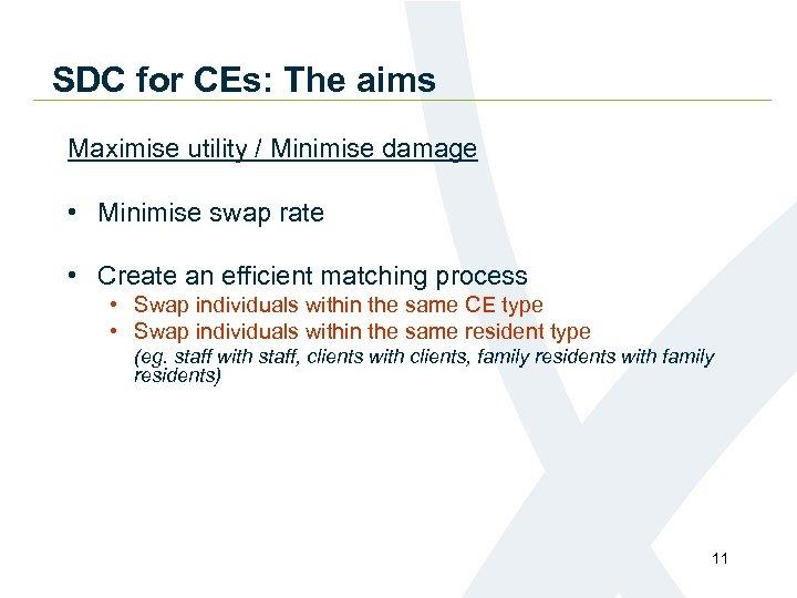 SDC for CEs: The aims Maximise utility / Minimise damage • Minimise swap rate