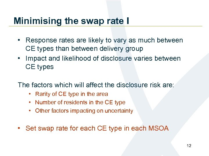Minimising the swap rate I • Response rates are likely to vary as much