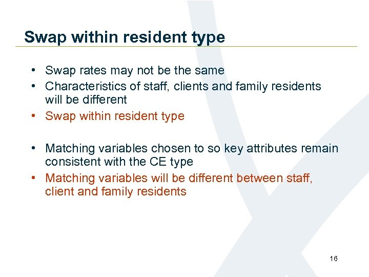 Swap within resident type • Swap rates may not be the same • Characteristics