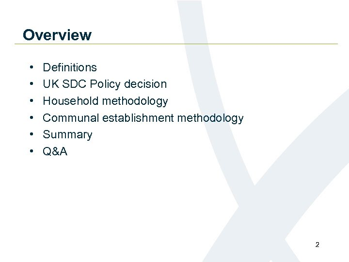 Overview • • • Definitions UK SDC Policy decision Household methodology Communal establishment methodology