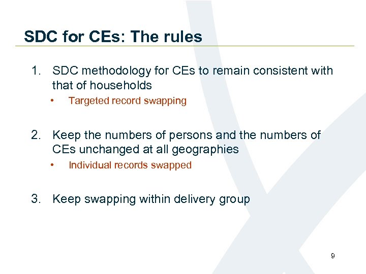 SDC for CEs: The rules 1. SDC methodology for CEs to remain consistent with