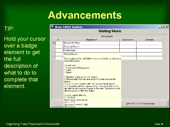 Advancements TIP: Hold your cursor over a badge element to get the full description