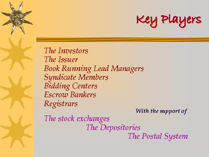 Key Players The Investors The Issuer Book Running Lead Managers Syndicate Members Bidding Centers