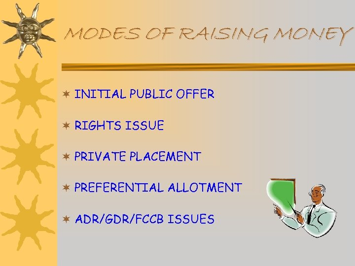 MODES OF RAISING MONEY ¬ INITIAL PUBLIC OFFER ¬ RIGHTS ISSUE ¬ PRIVATE PLACEMENT