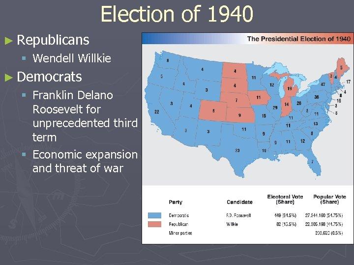 Election of 1940 ► Republicans § Wendell Willkie ► Democrats § Franklin Delano Roosevelt