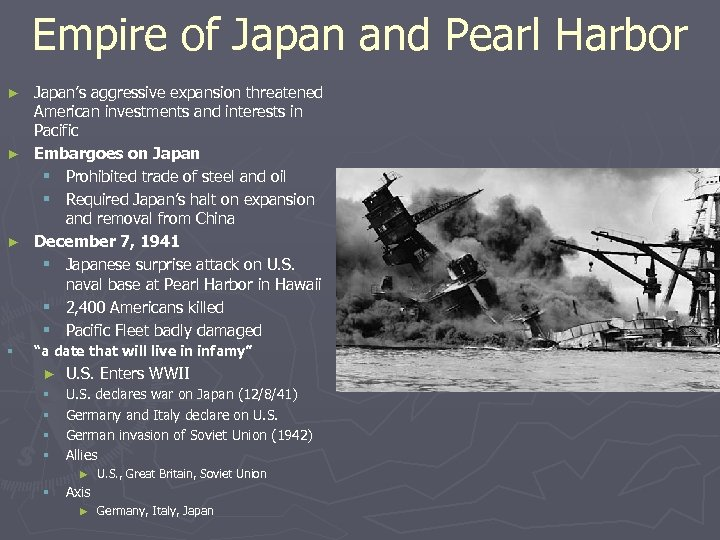 Empire of Japan and Pearl Harbor Japan's aggressive expansion threatened American investments and interests
