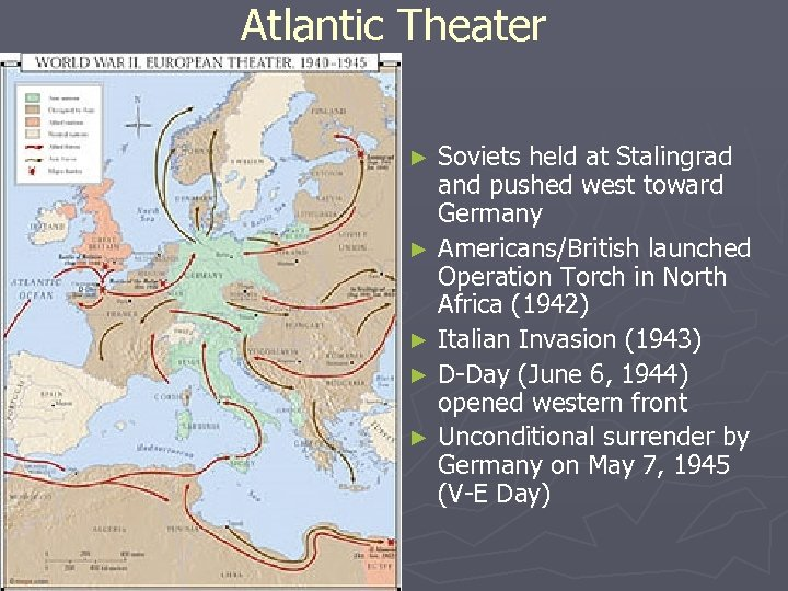 Atlantic Theater Soviets held at Stalingrad and pushed west toward Germany ► Americans/British launched