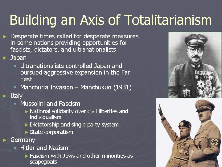 Building an Axis of Totalitarianism Desperate times called for desperate measures in some nations