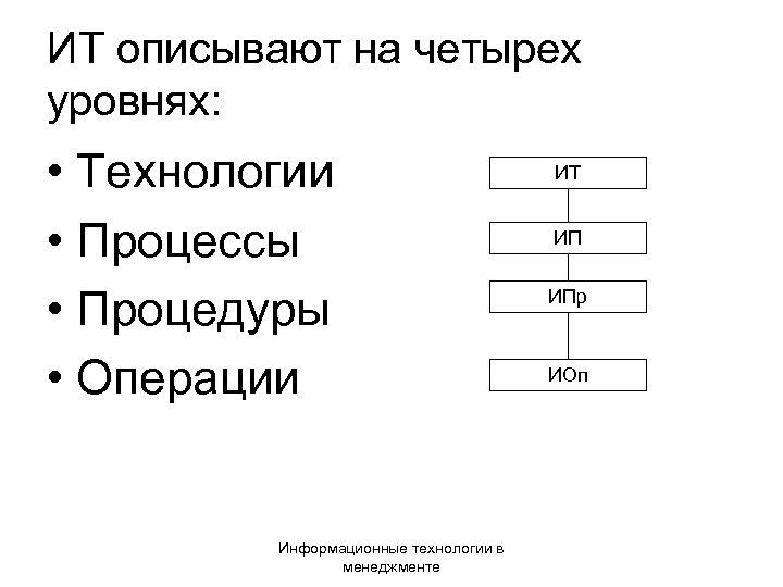 ИТ описывают на четырех уровнях: • Технологии • Процессы • Процедуры • Операции Информационные