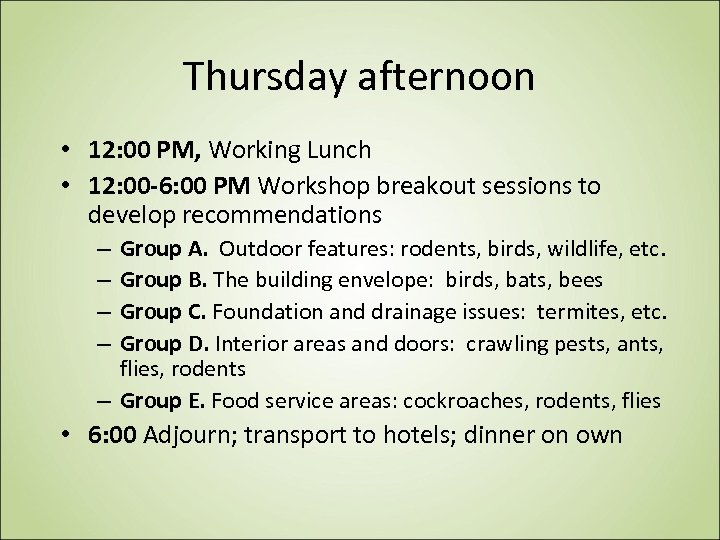 Thursday afternoon • 12: 00 PM, Working Lunch • 12: 00 -6: 00 PM