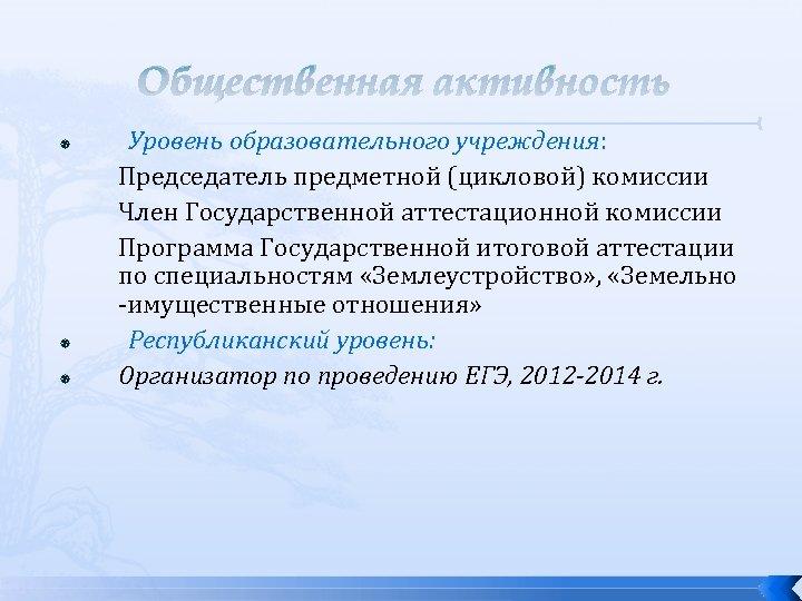 Общественная активность Уровень образовательного учреждения: Председатель предметной (цикловой) комиссии Член Государственной аттестационной комиссии Программа