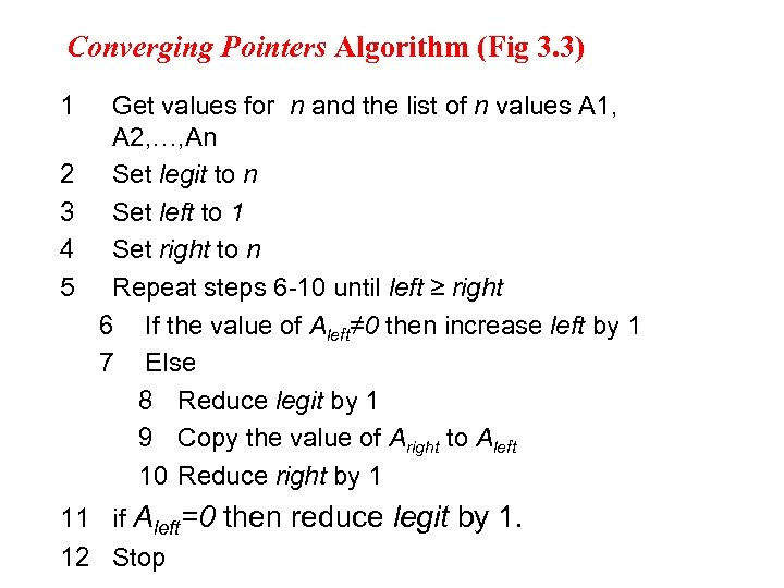 Converging Pointers Algorithm (Fig 3. 3) 1 2 3 4 5 Get values for