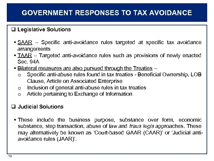 GOVERNMENT RESPONSES TO TAX AVOIDANCE q Legislative Solutions § SAAR – Specific anti-avoidance rules