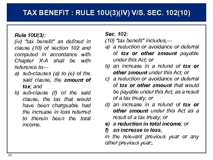 TAX BENEFIT : RULE 10 U(3)(IV) V/S. SEC. 102(10) Rule 10 U(3): (iv)