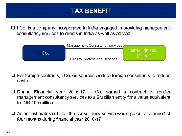 TAX BENEFIT q I Co. is a company incorporated in India engaged in providing