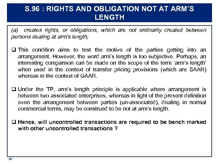 S. 96 : RIGHTS AND OBLIGATION NOT AT ARM'S LENGTH (a) creates rights, or