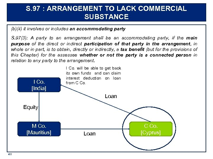 S. 97 : ARRANGEMENT TO LACK COMMERCIAL SUBSTANCE (b)(ii) it involves or includes an