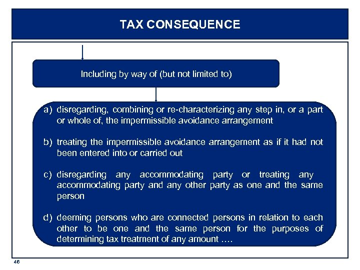 TAX CONSEQUENCE Including by way of (but not limited to) a) disregarding, combining or