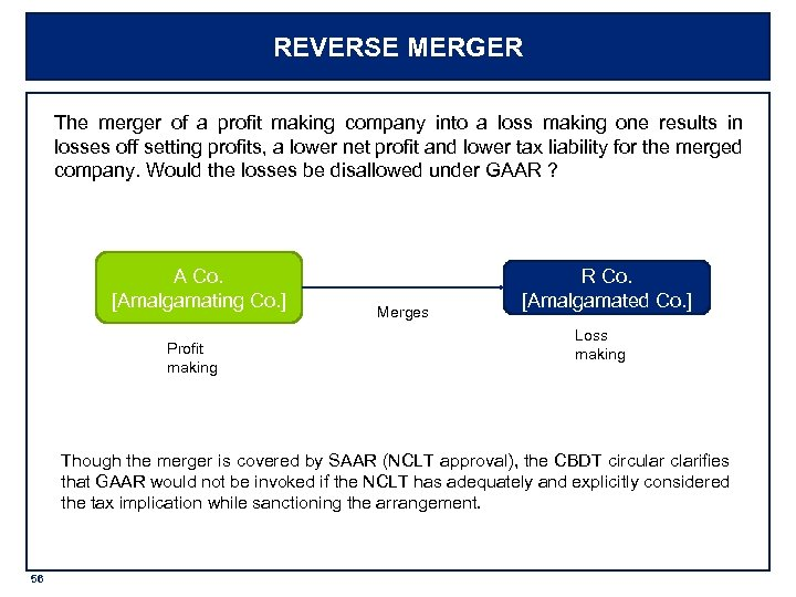 REVERSE MERGER The merger of a profit making company into a loss making one