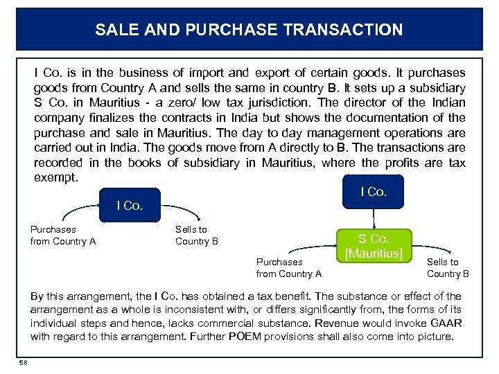 SALE AND PURCHASE TRANSACTION I Co. is in the business of import and export
