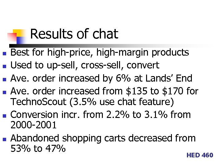 Results of chat n n n Best for high-price, high-margin products Used to up-sell,