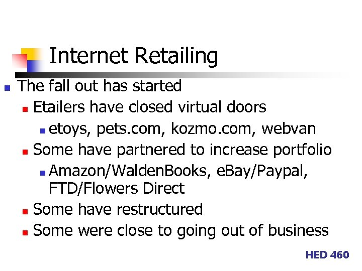 Internet Retailing n The fall out has started n Etailers have closed virtual doors