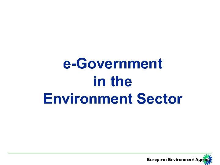 e-Government in the Environment Sector European Environment Agency