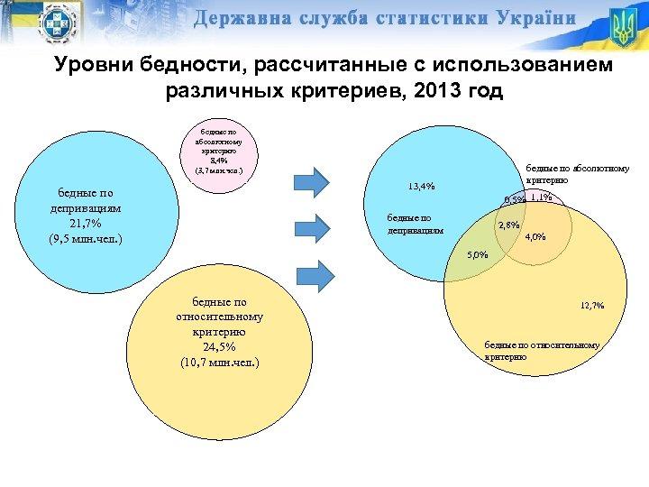 Уровни бедности, рассчитанные с использованием различных критериев, 2013 год бедные по абсолютному критерию 8,