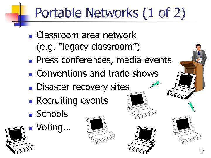 Portable Networks (1 of 2) n n n n Classroom area network (e. g.